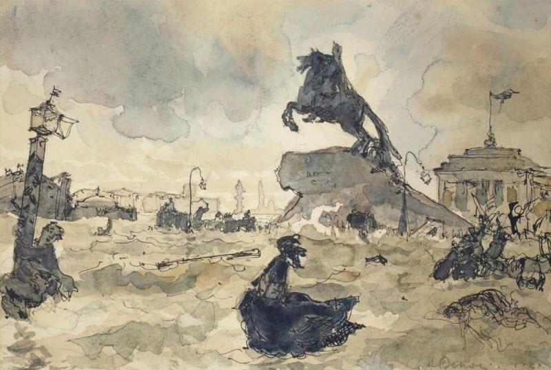 Иллюстрация к поэме А.С. Пушкина «Медный всадник»